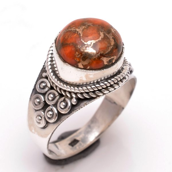 Orange Copper Turquoise Gemstone 925 Sterling Silver Ring Size 7