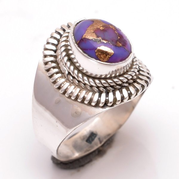 Purple Copper Turquoise Gemstone 925 Sterling Silver Ring Size 6