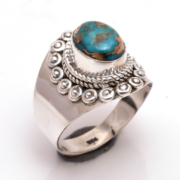 Blue Copper Turquoise Gemstone 925 Sterling Silver Ring Size 6.5