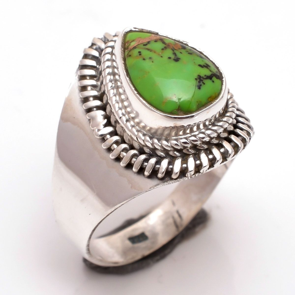 Green Copper Turquoise Gemstone 925 Sterling Silver Ring Size 8.5