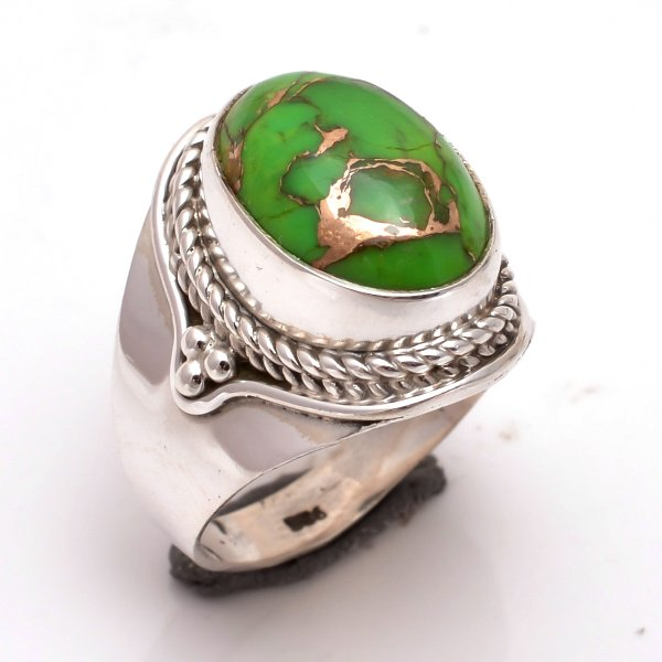 Green Copper Turquoise Gemstone 925 Sterling Silver Ring Size 6