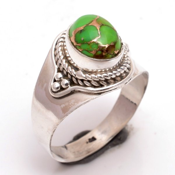 Green Copper Turquoise Gemstone 925 Sterling Silver Ring Size 8