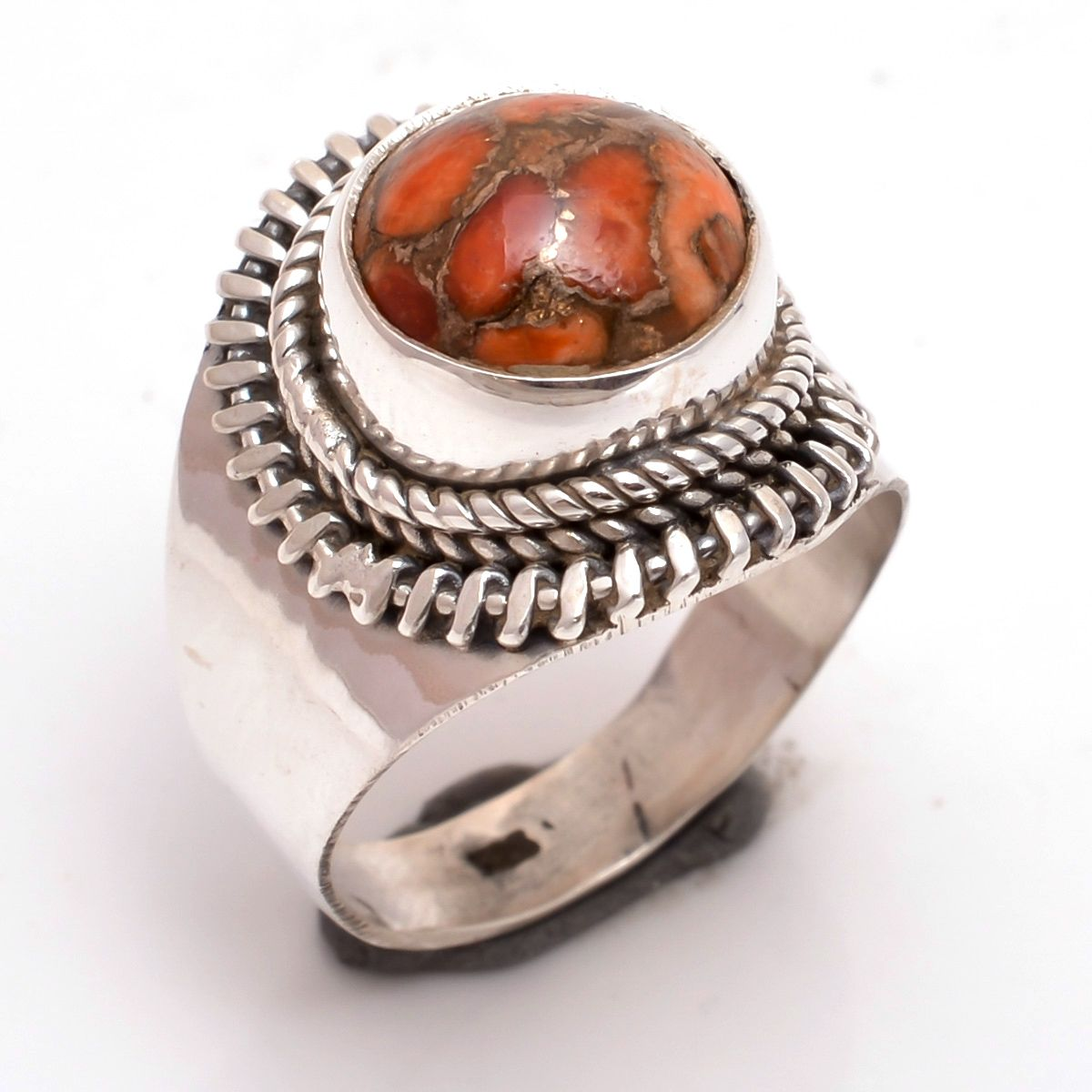 Orange Copper Turquoise Gemstone 925 Sterling Silver Ring Size 6