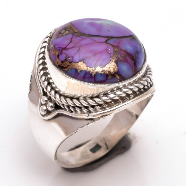 Purple Copper Turquoise Gemstone 925 Sterling Silver Ring Size 8