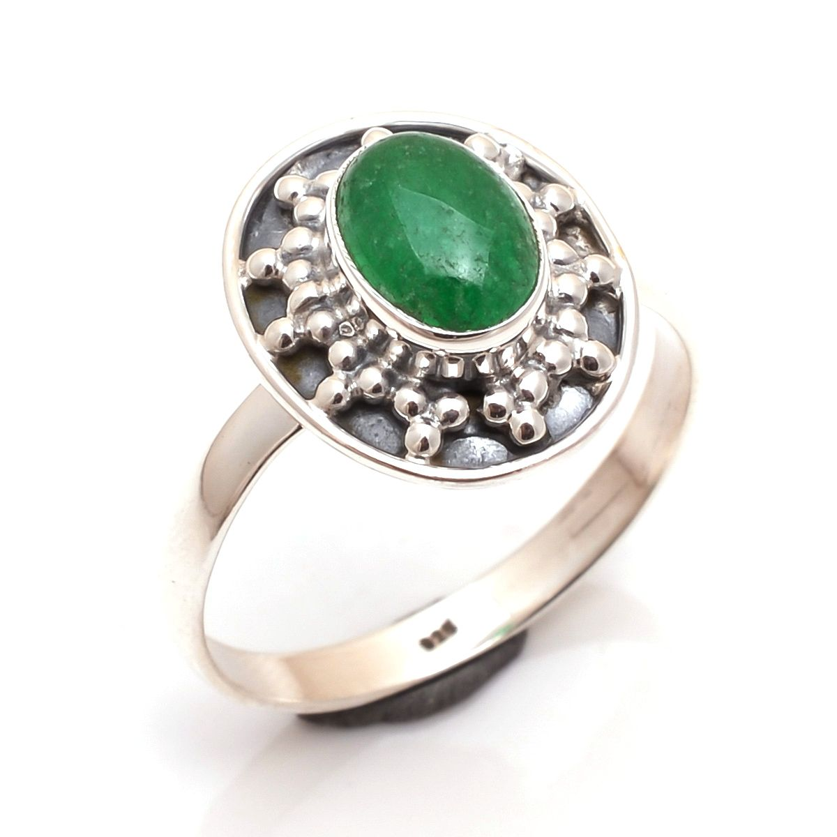 Green Onyx Gemstone 925 Sterling Silver Ring Size 9
