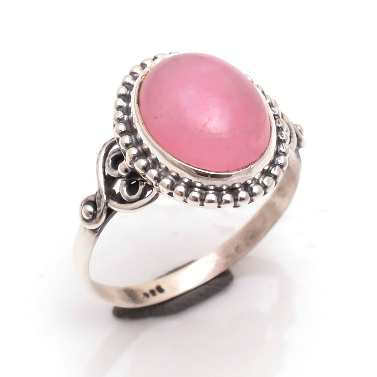 Pink Jade Gemstone 925 Sterling Silver Ring Size 7
