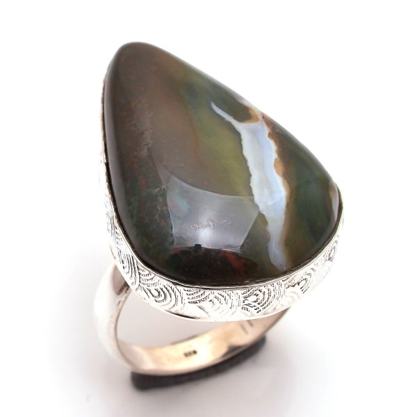 Bloodstone Gemstone 925 Sterling Silver Ring Size 10