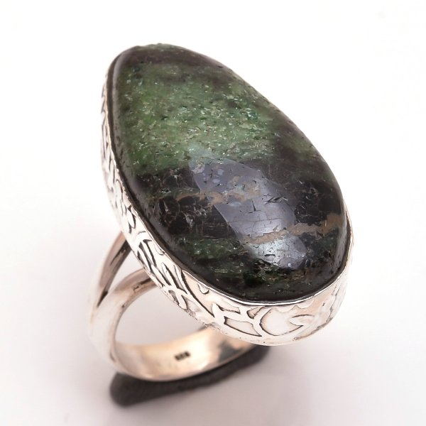 Ruby Zoisite Gemstone 925 Sterling Silver Ring Size 7