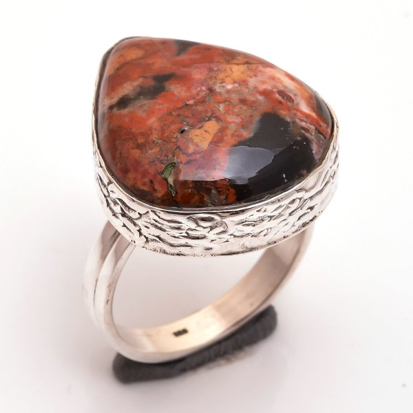 Jasper Gemstone 925 Sterling Silver Ring Size 8