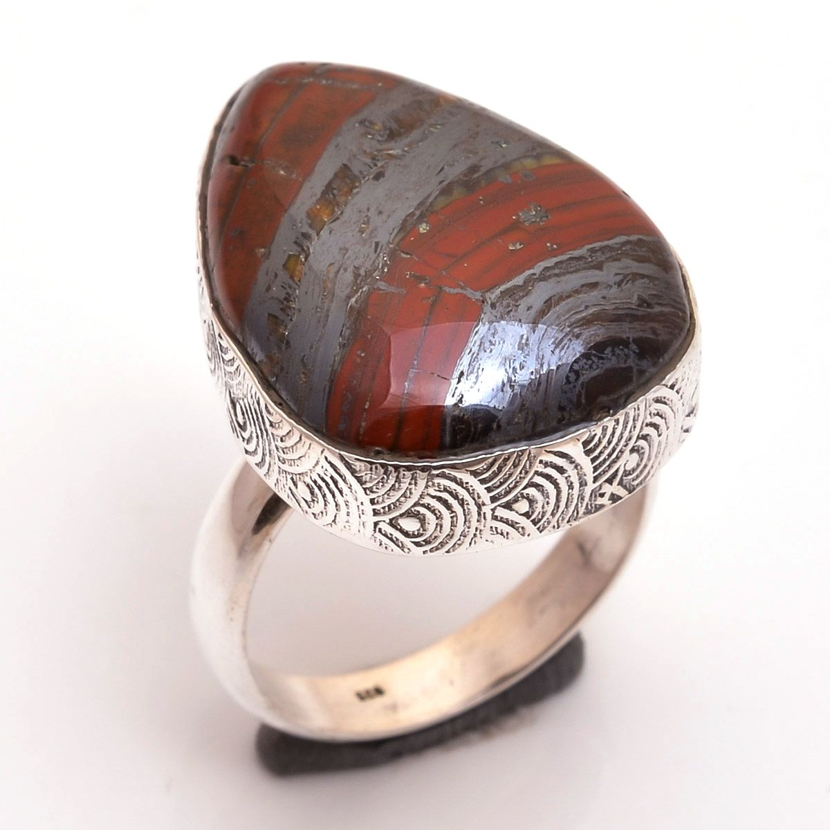 Iron Tiger  Gemstone 925 Sterling Silver Ring Size 8.5