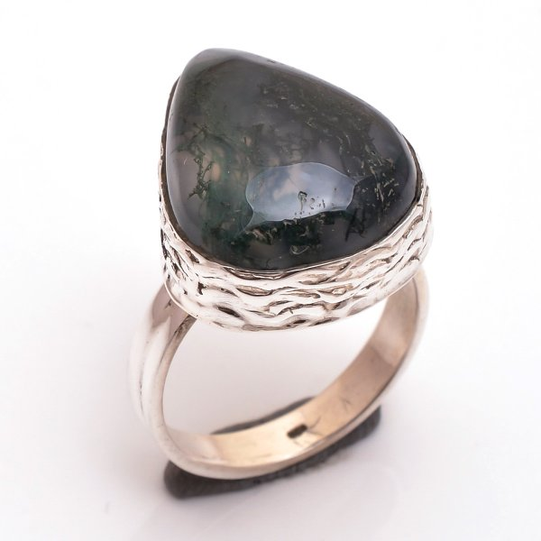 Moss Agate Gemstone 925 Sterling Silver Ring Size 7.5