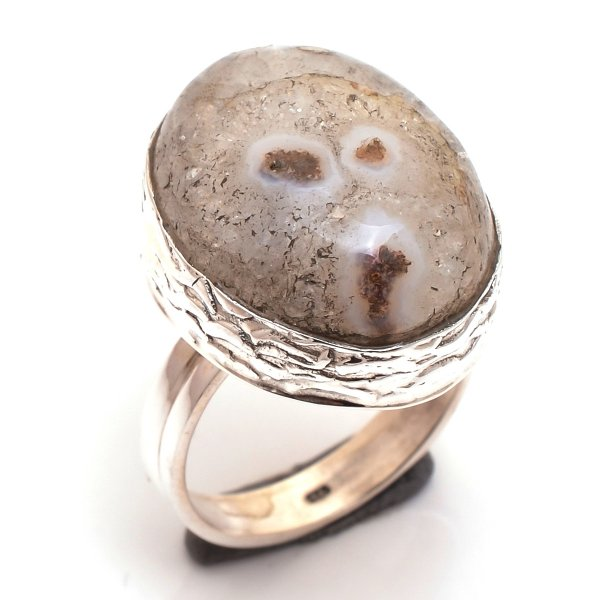 Solar Quartz Druzy Gemstone 925 Sterling Silver Ring Size 7
