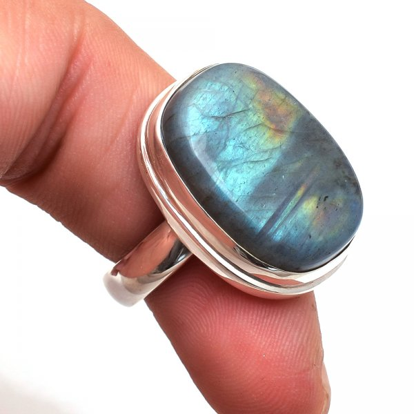 Labradorite Gemstone 925 Sterling Silver Ring Size 7.5
