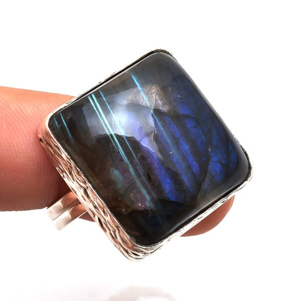 Labradorite Gemstone 925 Sterling Silver Ring Size 9