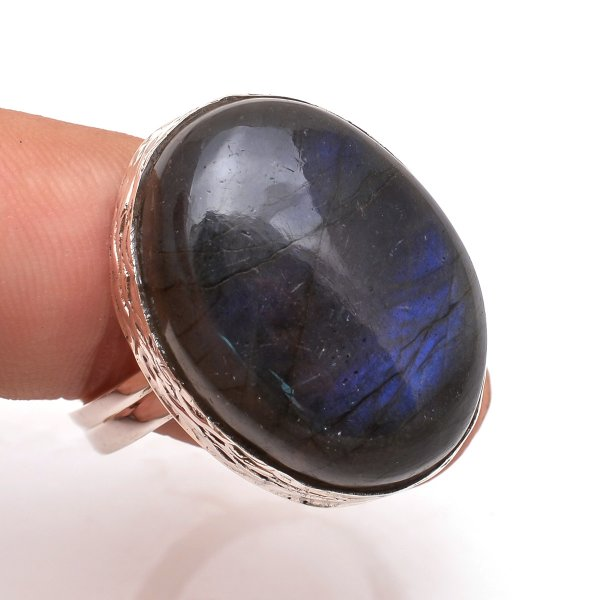 Labradorite Gemstone 925 Sterling Silver Ring Size 10