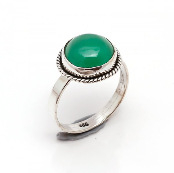 Green Onyx Gemstone 925 Sterling Silver Ring Size 6