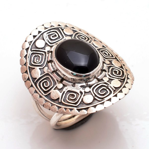 Black Onyx Gemstone 925 Sterling Silver Ring Size US 6