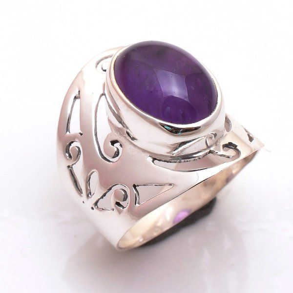 Amethyst Gemstone 925 Sterling Silver Ring Size 8