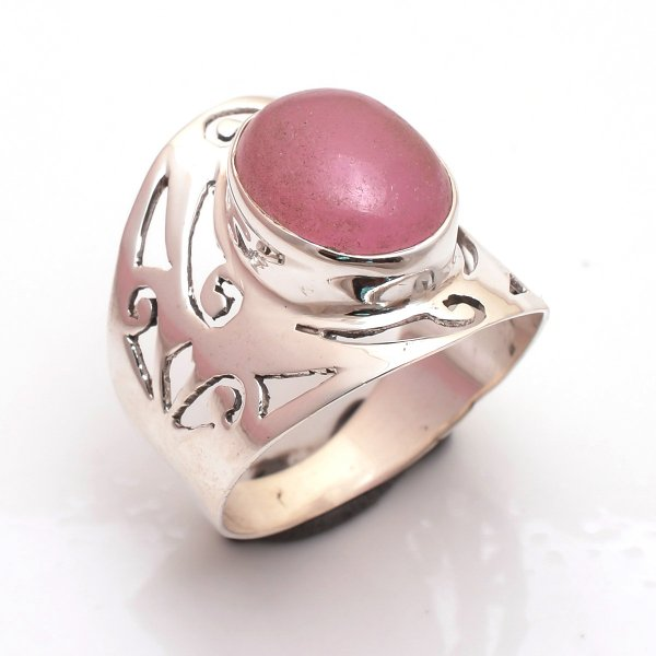 Pink Jade Gemstone 925 Sterling Silver Ring Size US 8