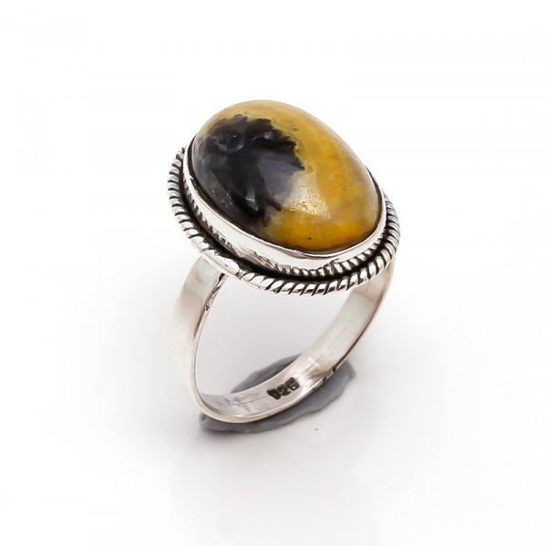 Jasper Gemstone 925 Sterling Silver Ring Size 6