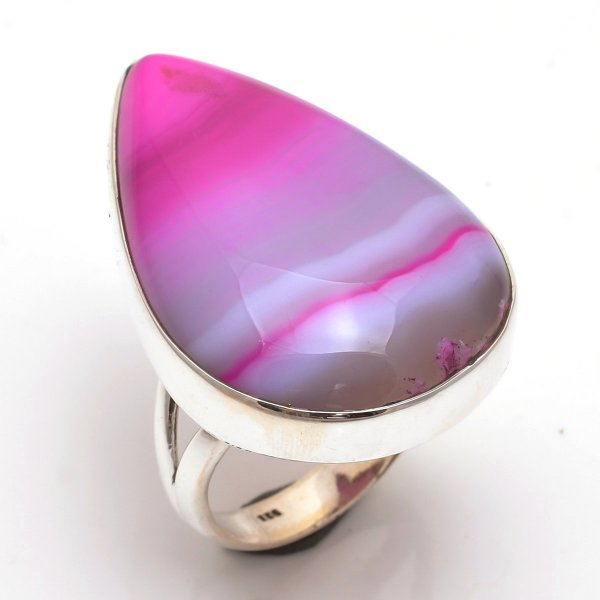 Pink Bostwana Agate Gemstone 925 Sterling Silver Ring Size 9.5