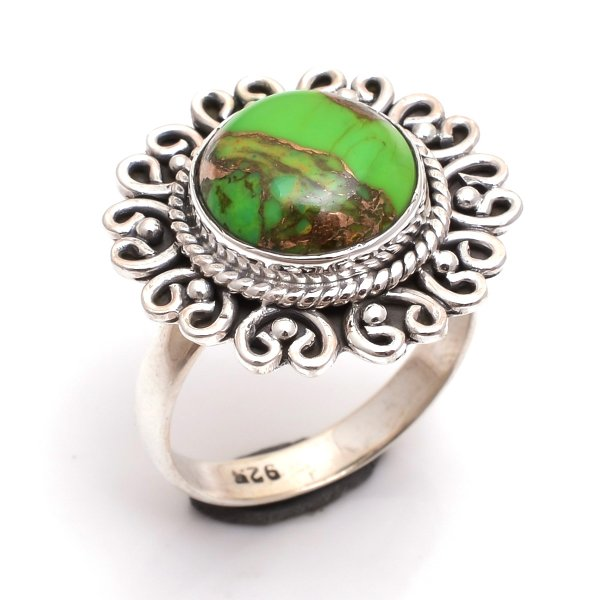 Green Copper Turquoise Gemstone 925 Sterling Silver Ring Size 9