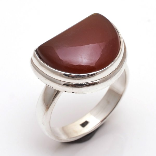 Red Onyx Gemstone 925 Sterling Silver Ring Size US 9