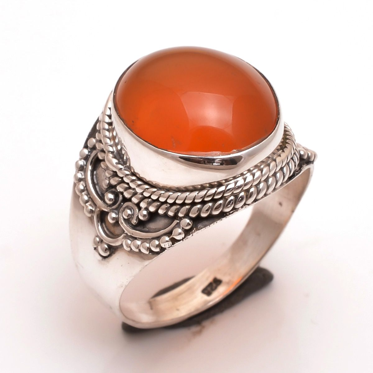 Carnelian Gemstone 925 Sterling Silver Ring Size 9
