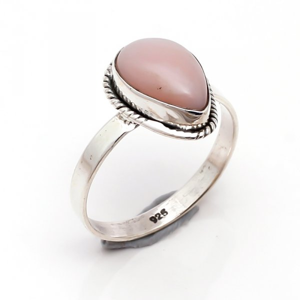 Pink Opal Gemstone 925 Sterling Silver Ring Size 5.5