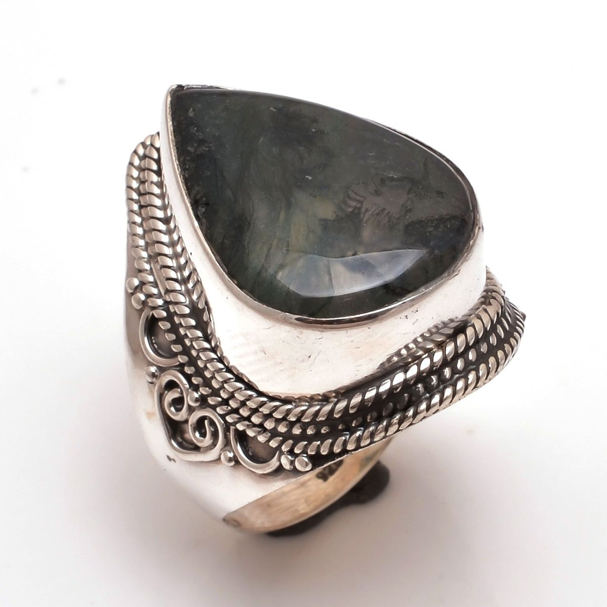 Moss Agate Gemstone 925 Sterling Silver Ring Size 8.5