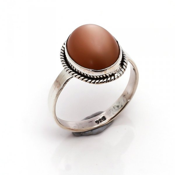 Moonstone Gemstone 925 Sterling Silver Ring Size 7