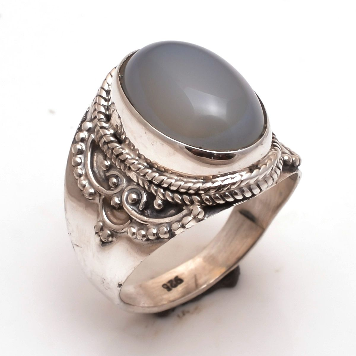 Chalcedony Gemstone 925 Sterling Silver Ring US US 8
