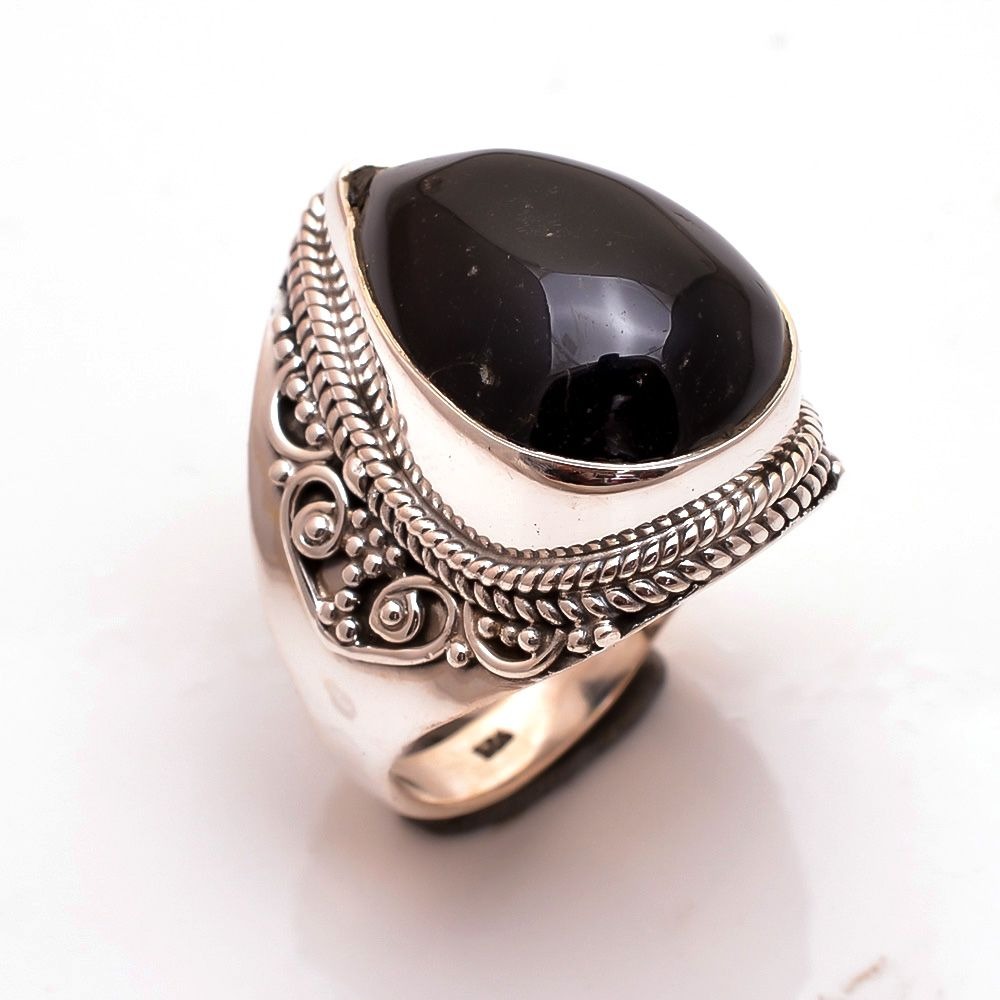 Black Onyx Gemstone 925 Sterling Silver Ring Size 9