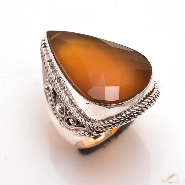 Yellow Jade Gemstone 925 Sterling Silver Ring Size 8