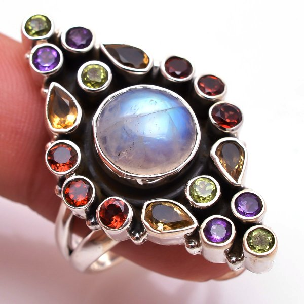 Rainbow Moonstone Garnet Gemstone 925 Sterling Silver Ring