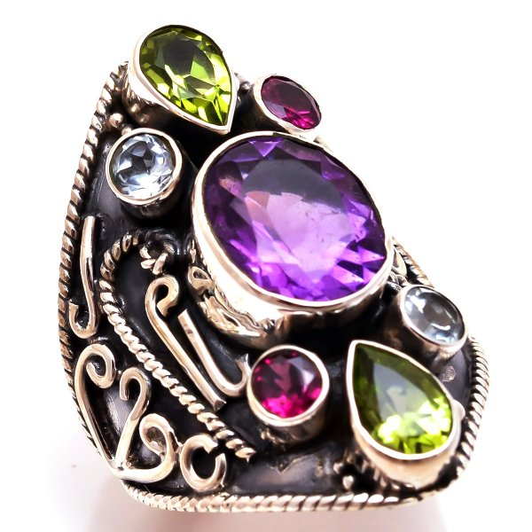 Amethyst Peridot Gemstone 925 Sterling Silver Ring Size 8.5