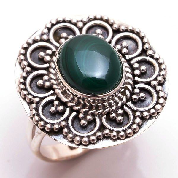 Malachite Gemstone 925 Sterling Silver Ring Size 7.5