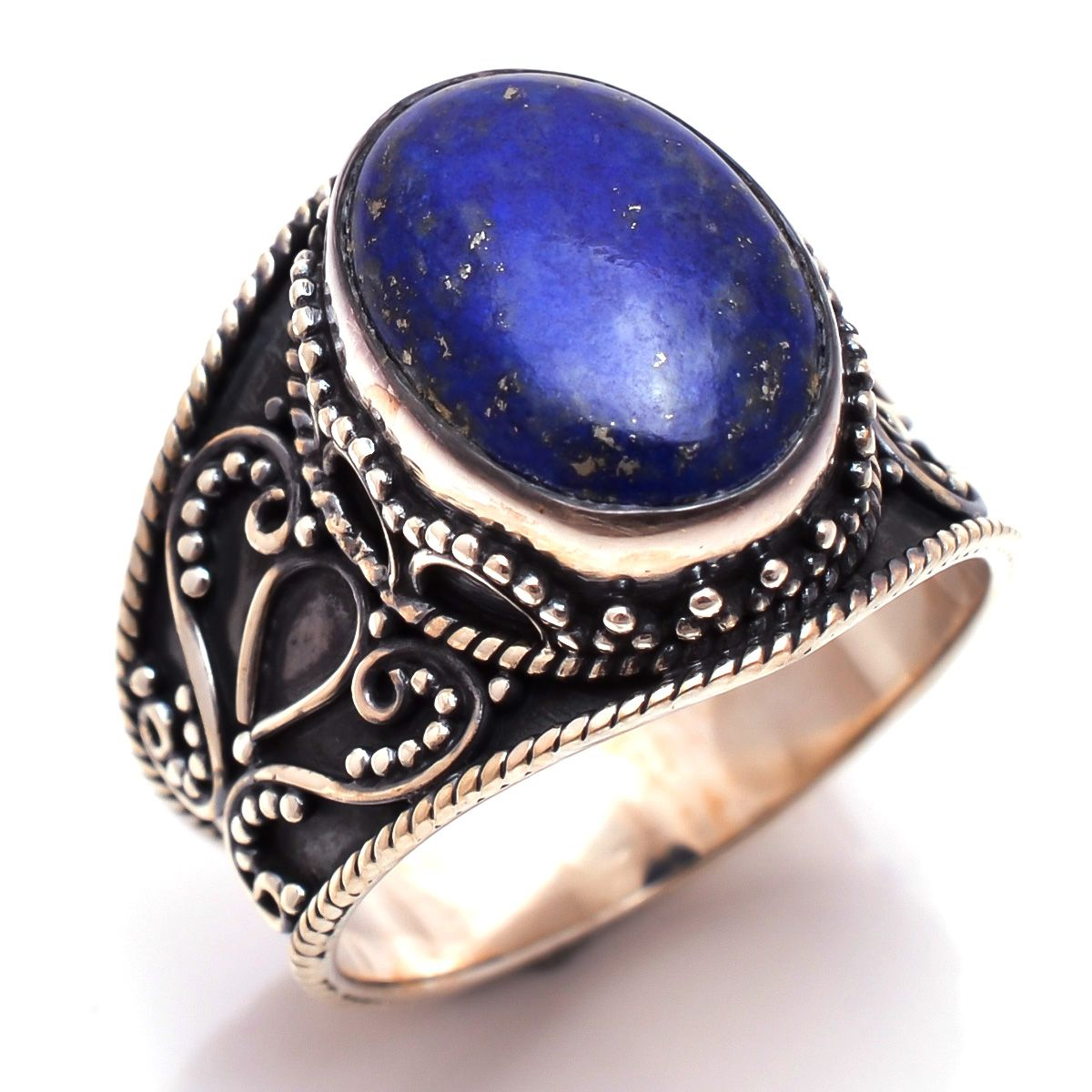 Lapis Gemstone 925 Sterling Silver Ring Size 8