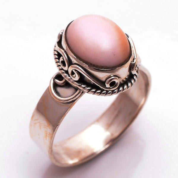 Pink Opal Gemstone 925 Sterling Silver Ring Size 9.5