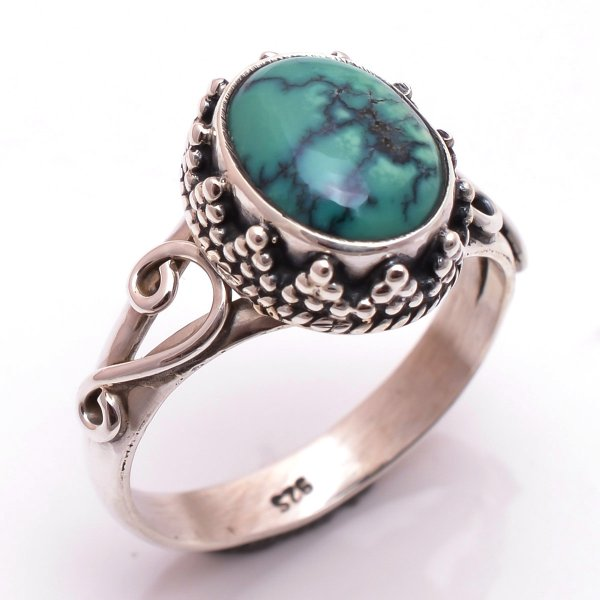 Turquoise Gemstone 925 Sterling Silver Ring Size 9