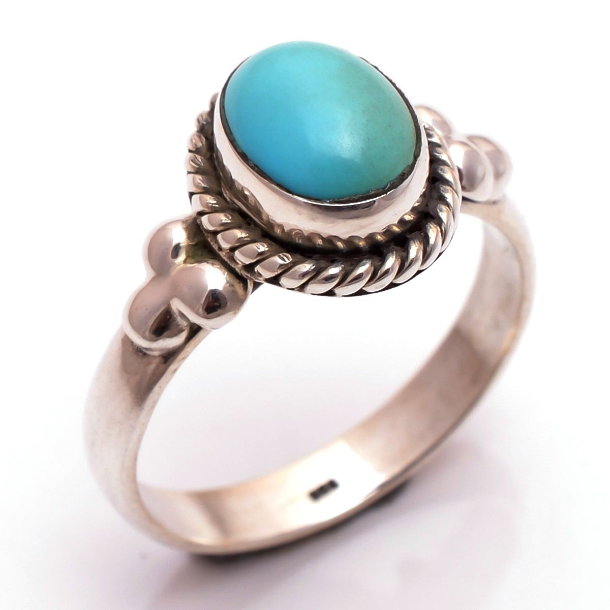 Sleeping Beauty Turquoise Gemstone 925 Sterling Silver Ring Size 8.5