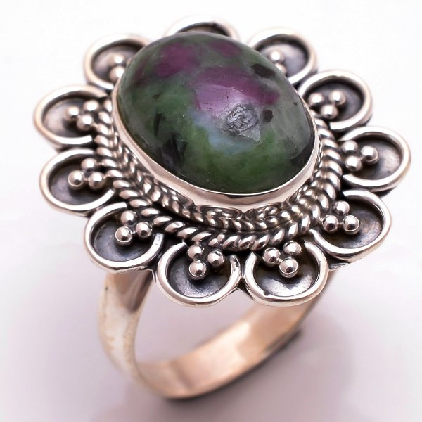 Ruby Zoisite Gemstone 925 Sterling Silver Ring Size 8