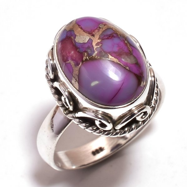 Purple Copper Turquoise Gemstone 925 Sterling Silver Ring Size 6.75