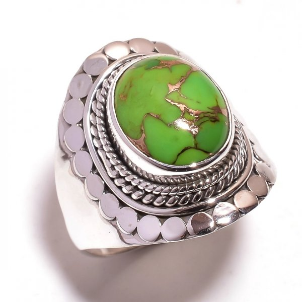 Green Copper Turquoise Gemstone 925 Sterling Silver Ring Size 9.5