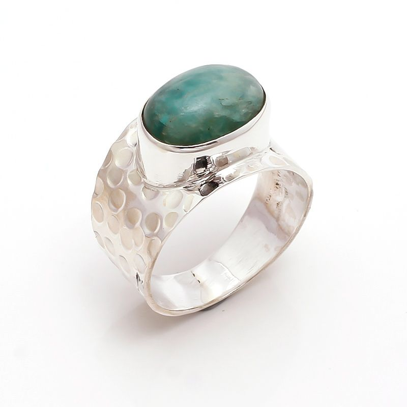 Variscite Gemstone 925 Sterling Silver Ring Size 10