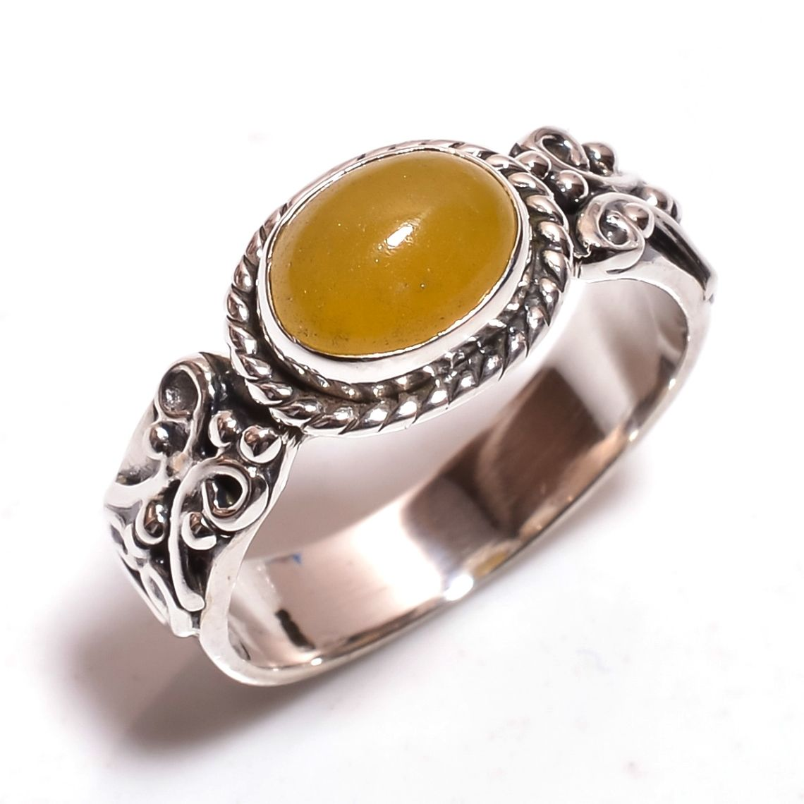 Yellow Jade Gemstone 925 Sterling Silver Ring Size 6.75