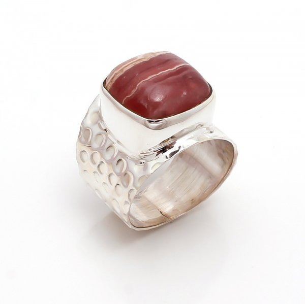 Rhodochrosite Gemstone 925 Sterling Silver Ring Size 6.5