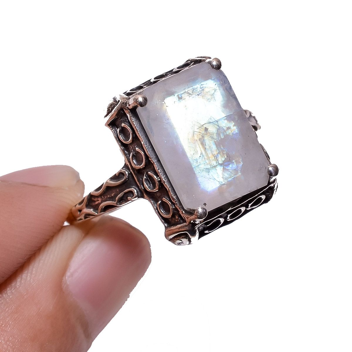 Rainbow Moonstone 925 Sterling Silver Ring Size 10