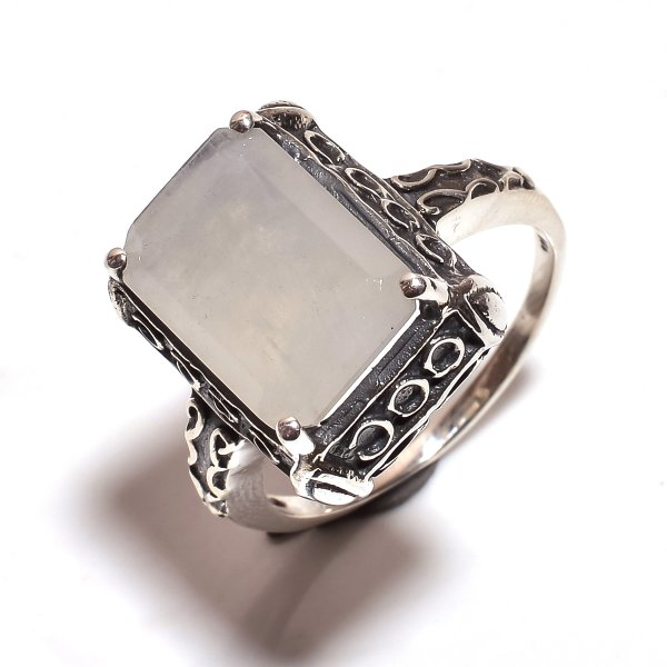 Rainbow Moonstone 925 Sterling Silver Ring Size 10.25