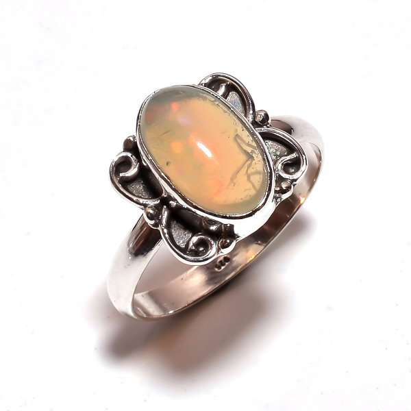 Ethiopian Opal Gemstone 925 Sterling Silver Ring Size 9.25